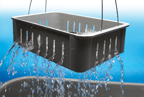 Fiberglass Material Handling Wash Boxes in use by MFG Tray
