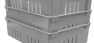 Fiberglass Material Handling Wash Boxes in gray stacked by MFG Tray