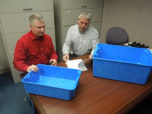 JT and Burt reviewing the Ultra-Lite Totes & Containers